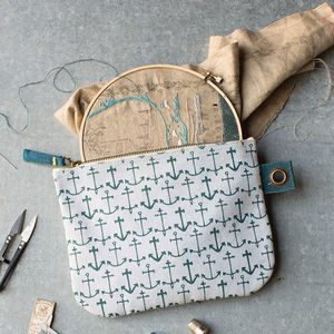 Anchor Print Zip Pouch - make-up & wash bags