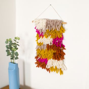 Shaggy Wool Hand Knitted Wall Hanging