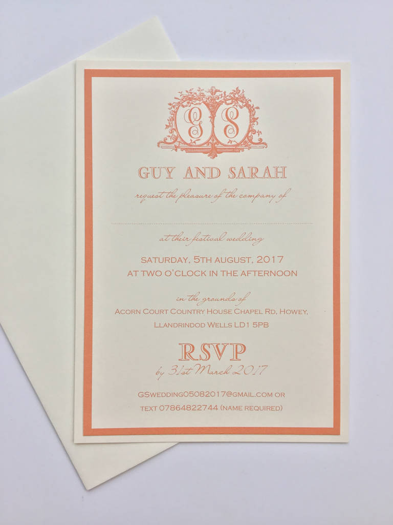 Monogrammed Traditional Wedding Invitations By Claryce Design