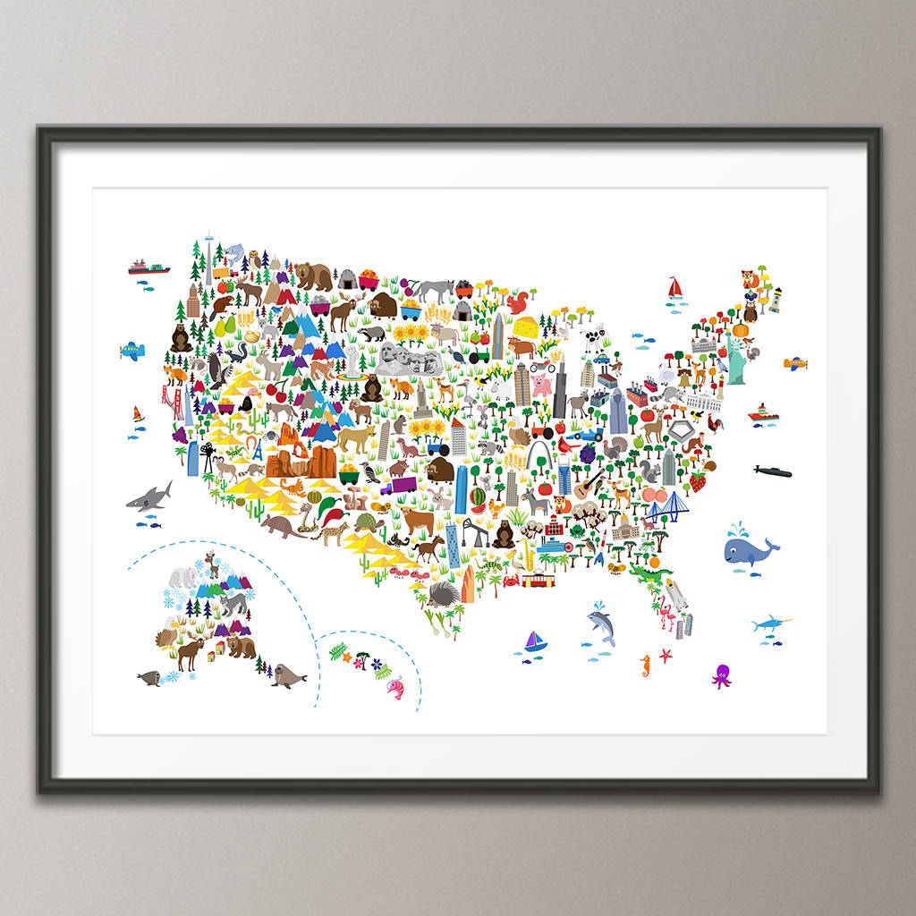 animal map united states childrens print by artpause