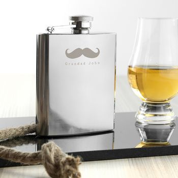 Personalised 'Moustache' Silver Hip Flask