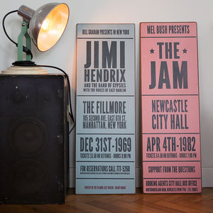 Personalised Vintage Style Concert Sign