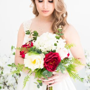 Botanical Inspired Faux Bridal Bouquet With Ferns - artificial flowers