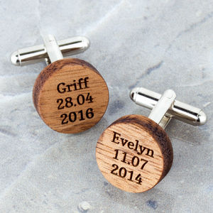 Personalised Wooden Round Cufflinks - cufflinks