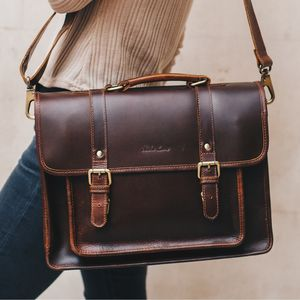 Classic Leather Satchel Bag - men's accessories