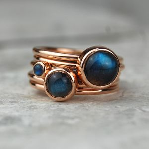 Solid Rose Gold Labradorite Stacking Ring Set - rings