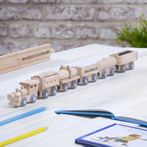 Personalised Wooden Freight Train With Display Track - best gifts for boys