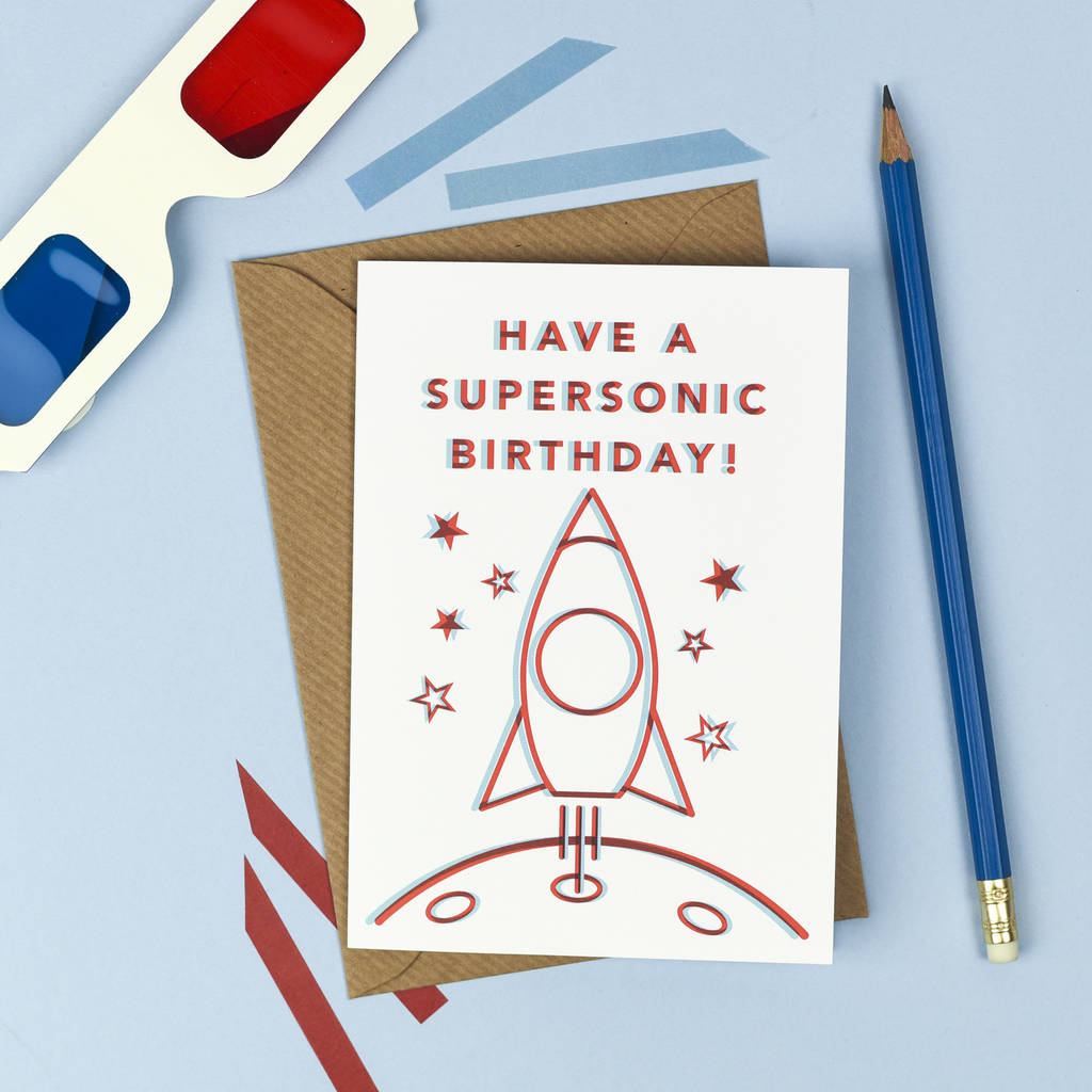 3D Rocketship Birthday Card