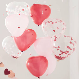 10 Heart And Confetti Balloons