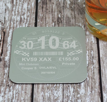 Personalised Etched Tax Disc Coaster