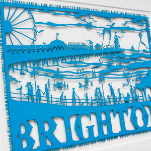 Brighton Seafront Folk Art Papercut - posters & prints