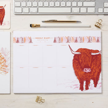 Highland Cow Weekly Planner