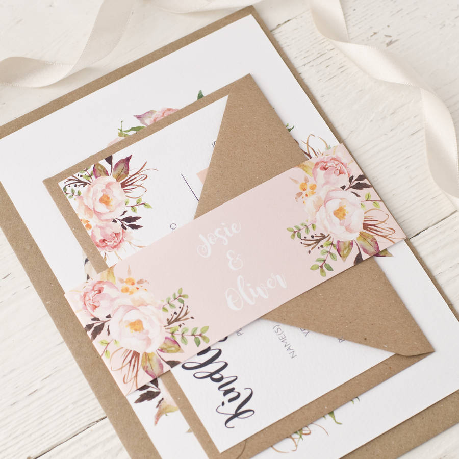 Rose Bohemian Watercolour Floral Wedding Invitation By Peach Wolfe