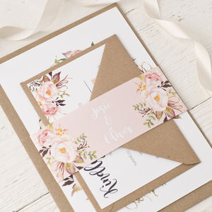 Rose Bohemian Watercolour Floral Wedding Invitation - invitations