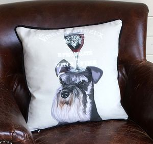 Miniature Schnauzer Cushion, Dog Au Vin Wine Gift - cushions