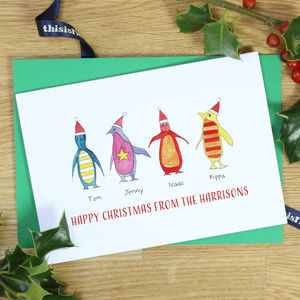 Personalised Rainbow Penguin Family Christmas Cards - personalised