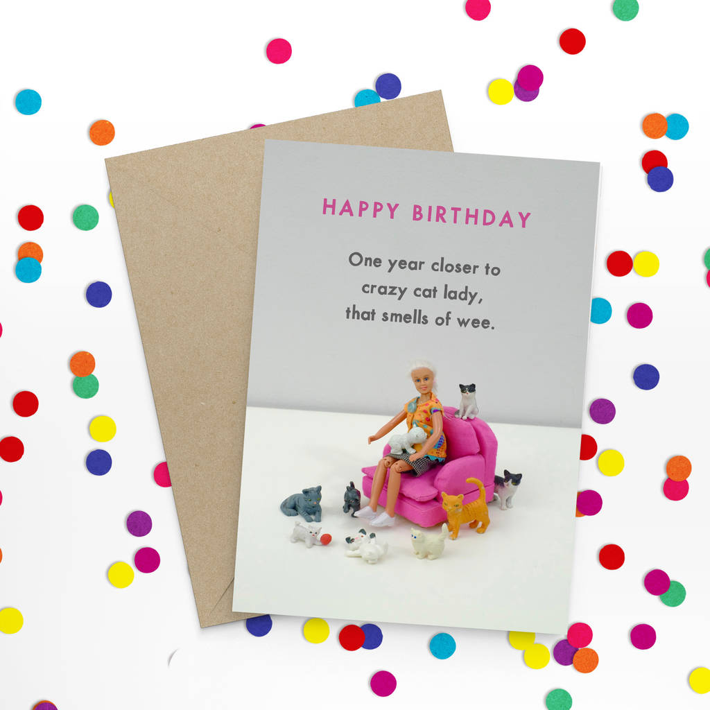 Crazy Cat Lady Birthday Card By Bold Bright Notonthehighstreet Com