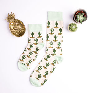 Cotton Cactus Print Socks - gifts for her sale
