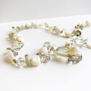Citrine And Seashell Long Necklace - precious gemstones