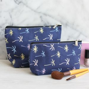 Palm Trees Canvas Make Up Bag