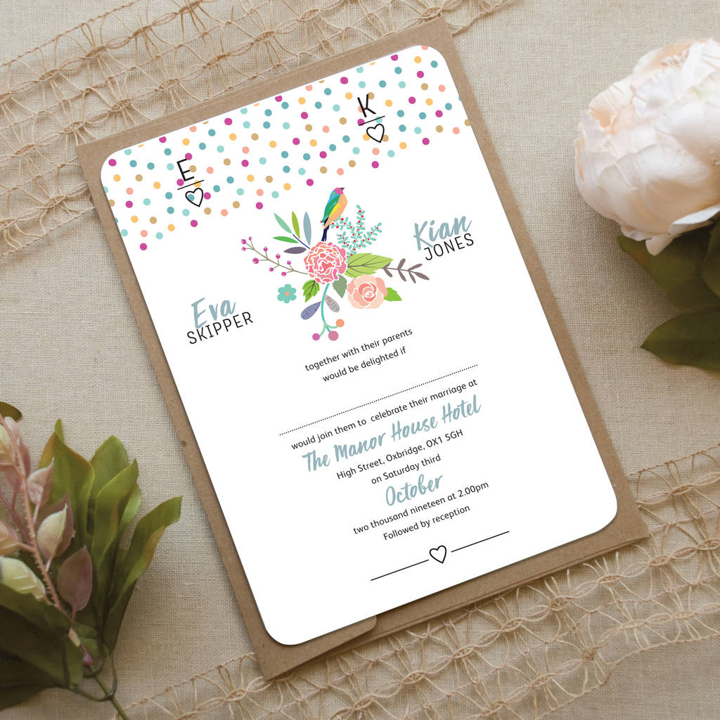 Exotic Bird Wedding Invitation By Love Wedding Print