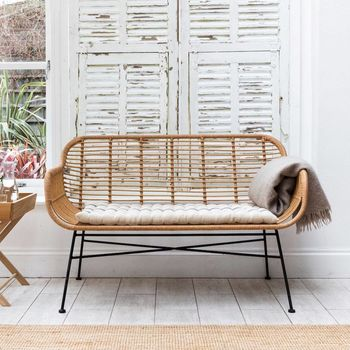 Bamboo Wrapped Double Garden Bench