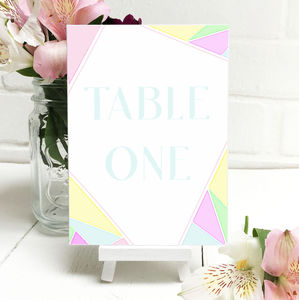Rainbow Geometric Table Number Or Name Card - new in wedding styling