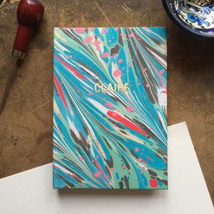 Personalised Hand Marbled Feather Journal - gifts for friends
