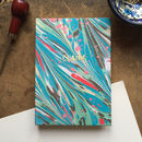 Personalised Hand Marbled Feather Journal