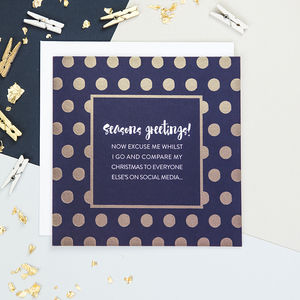 'Seasons Greetings!' Gold Foiled Funny Christmas Card - cards & wrap