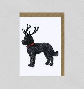 Illustrated Labradoodle Deer Blank Card