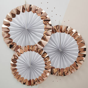 Rose Gold Foiled Pin Wheel Fan Decorations