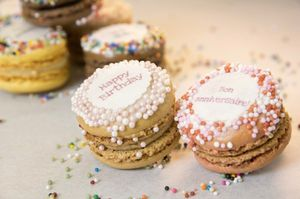 100 Mini Happy Birthday French Macarons - party bags and ideas
