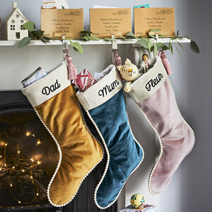 Personalised Luxury Velvet Christmas Pom Pom Stocking