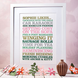 Personalised 'Likes' Poster Print - gifts for him