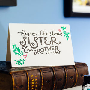 Sister And Brother In Law Letterpress Christmas Card - cards & wrap