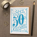 50th Birthday 50th Card Blue Chalk