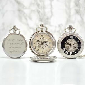 Personalised Pocket Watch Silver Black Numerals - watches
