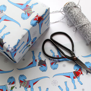 Dinosaur Christmas Wrapping Paper - ribbon & wrap