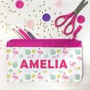 Personalised Pencil Case With Tropical Flamingo Design