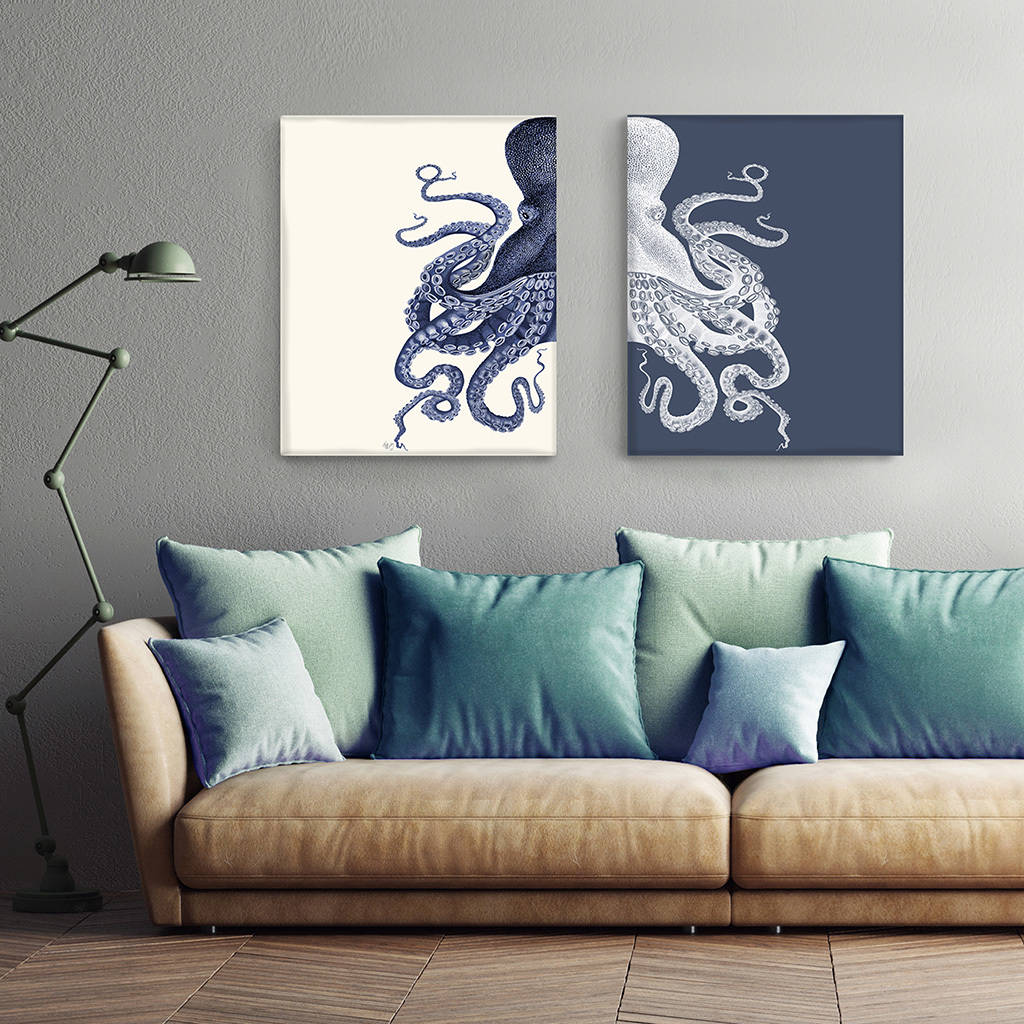 Contrasting Octopus Prints Set Of Two Prints