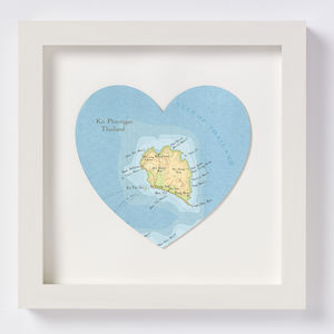 Ko Pha Ngan Map Heart Print - posters & prints