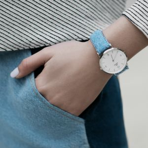 Ladies Harris Tweed Light Blue Loudwater Silver Watch