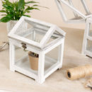 Set Of Two White Wooden Mini Greenhouses