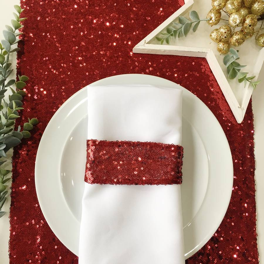 Awesome Christmas Berry Red Sequin Table Runner