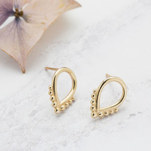 Handmade 9ct Gold Beaded Teardrop Stud Earrings - gifts for her