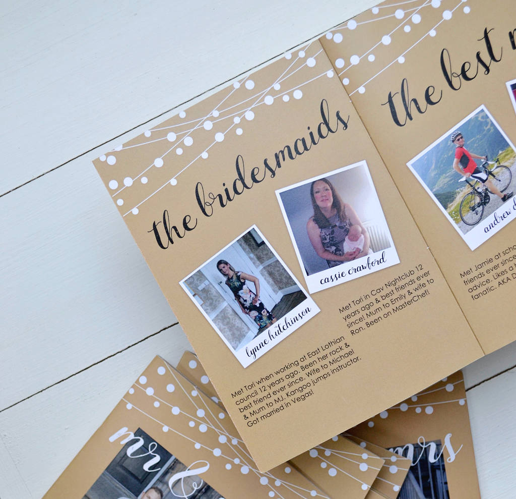 personalised wedding guest book by jack and jess