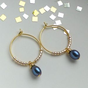 Peacock Freshwater Pearl Hoop Earrings