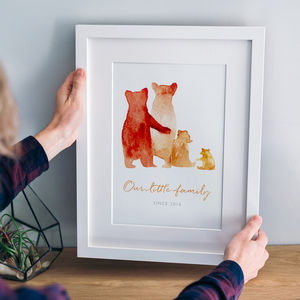 Personalised Bear Family Print, Unframed Or Framed