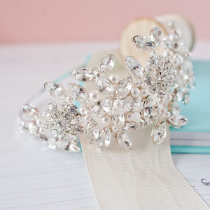 Pearl And Diamante Side Headdress - bridal hairpieces